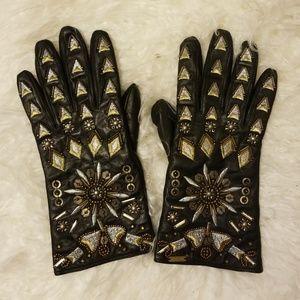 Free People Embellished Leather Gloves